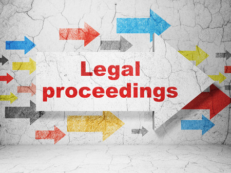 proceedings: Law concept:  arrow with Legal Proceedings on grunge textured concrete wall background