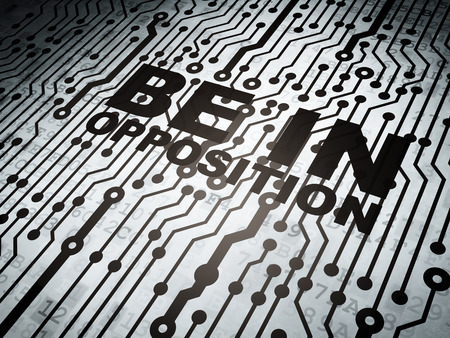 opposition: Politics concept: circuit board with  word Be in Opposition, 3d render