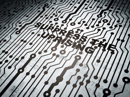 electronic voting: Political concept: circuit board with  word Suppress The Uprising, 3d render Stock Photo