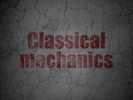 classical mechanics: Science concept: Red Classical Mechanics on grunge textured concrete wall background