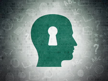 e systems: Studying concept: Painted green Head With Keyhole icon on Digital Paper background with  Hand Drawn Education Icons