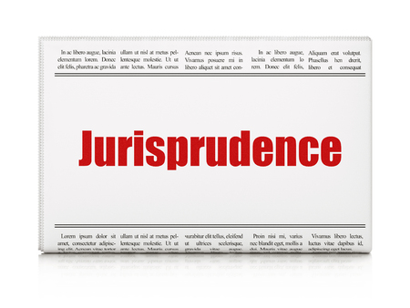 jurisprudence: Law concept: newspaper headline Jurisprudence on White background, 3d render