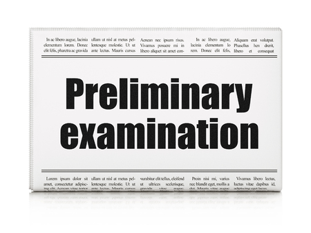 preliminary: Studying concept: newspaper headline Preliminary Examination on White background, 3d render