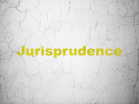 cement court: Law concept: Yellow Jurisprudence on textured concrete wall background