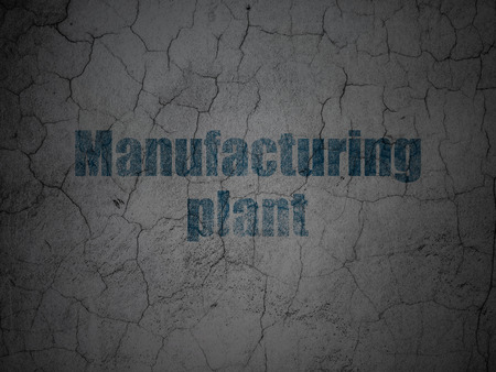 manufacturing plant: Industry concept: Blue Manufacturing Plant on grunge textured concrete wall background
