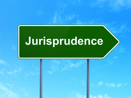 jurisprudence: Law concept: Jurisprudence on green road highway sign, clear blue sky background, 3d render