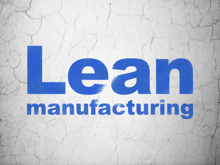 lean: Manufacuring concept: Blue Lean Manufacturing on textured concrete wall background Stock Photo