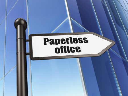 paperless: Finance concept: sign Paperless Office on Building background, 3d render Stock Photo