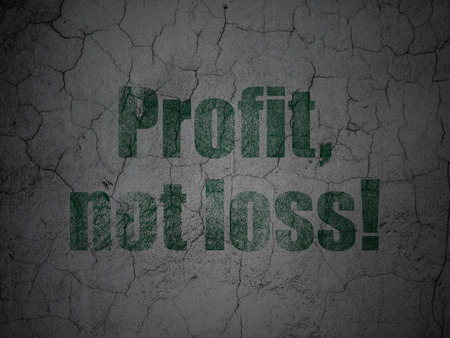 loss leader: Finance concept: Green Profit, Not Loss! on grunge textured concrete wall background