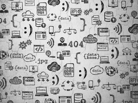 xml: Grunge background:  wall texture with  Black doodle  Hand Drawn Programming Icons