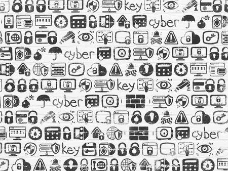 data line: Grunge background: White Brick wall texture with Row Of Black doodle Painted Hand Drawn Security Icons