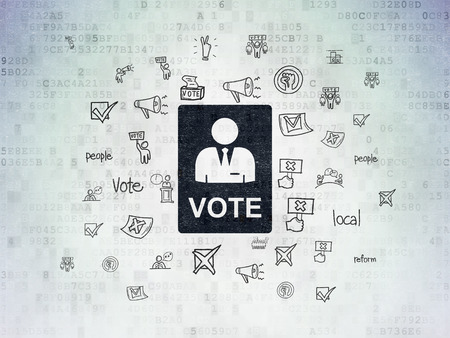 Politics concept: Painted black Ballot icon on Digital Paper background with  Hand Drawn Politics Icons