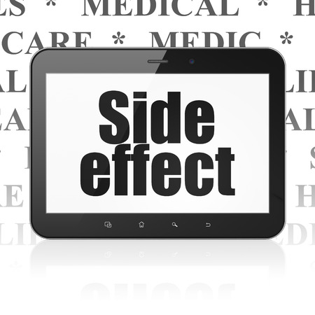 side effect: Medicine concept: Tablet Computer with  black text Side Effect on display,  Tag Cloud background