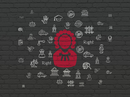 lex: Law concept: Painted red Judge icon on Black Brick wall background with  Hand Drawn Law Icons
