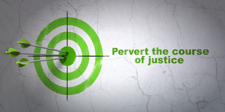 pervert: Success law concept: arrows hitting the center of target, Green Pervert the course Of Justice on wall background