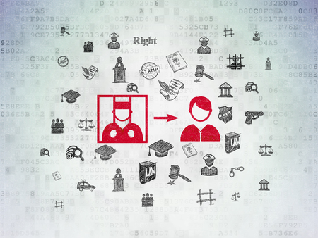 criminal act: Law concept: Painted red Criminal Freed icon on Digital Paper background with  Hand Drawn Law Icons