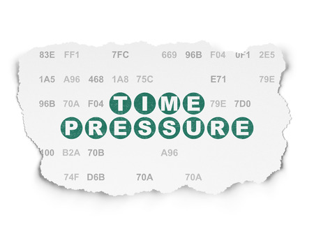 hexadecimal: Timeline concept: Painted green text Time Pressure on Torn Paper background with  Hexadecimal Code Stock Photo