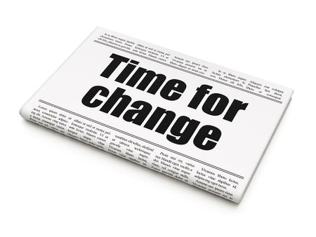 newspaper headline: Timeline concept: newspaper headline Time For Change on White background, 3d render Stock Photo