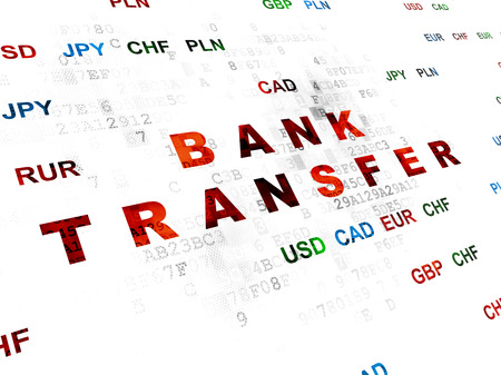 bank transfer: Banking concept: Pixelated red text Bank Transfer on Digital wall background with Currency