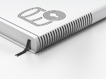 black and white lock: Database concept: closed book with Black Database With Lock icon on floor, white background, 3d render