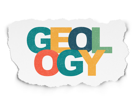 geology: Learning concept: Painted multicolor text Geology on Torn Paper background Stock Photo