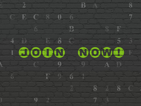 hexadecimal: Social network concept: Painted green text Join now! on Black Brick wall background with Hexadecimal Code
