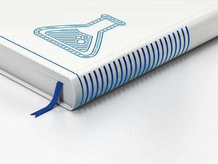 scientific literature: Science concept: closed book with Blue Flask icon on floor, white background, 3d render