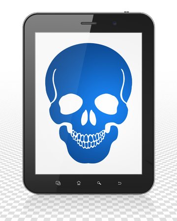 healing touch: Medicine concept: Tablet Pc Computer with blue Scull icon on display