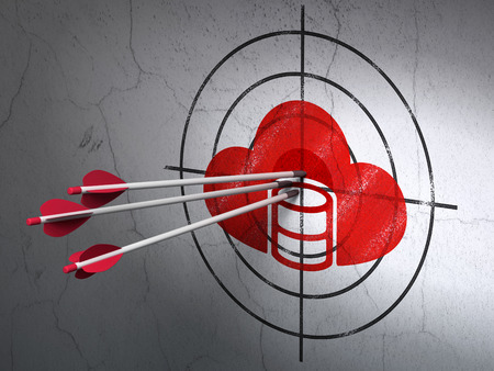 hitting a wall: Success Programming concept: arrows hitting the center of Red Database With Cloud target on wall background