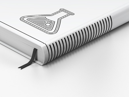 scientific literature: Science concept: closed book with Black Flask icon on floor, white background, 3d render Stock Photo