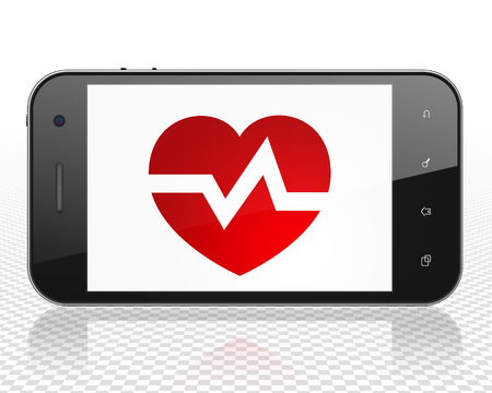 healing touch: Healthcare concept: Smartphone with red Heart icon on display