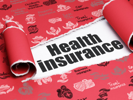 health insurance: Insurance concept: black text Health Insurance under the curled piece of Red torn paper with  Hand Drawn Insurance Icons