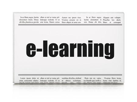 newspaper headline: Education concept: newspaper headline E-learning on White background, 3d render
