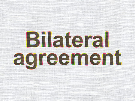 bilateral: Insurance concept: CMYK Bilateral Agreement on linen fabric texture background
