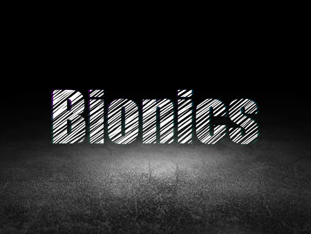 bionics: Science concept: Glowing text Bionics in grunge dark room with Dirty Floor, black background Stock Photo