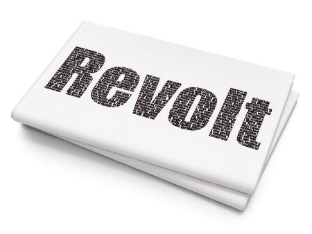 revolt: Politics concept: Pixelated black text Revolt on Blank Newspaper background
