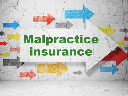 malpractice: Insurance concept:  arrow with Malpractice Insurance on grunge textured concrete wall background Stock Photo