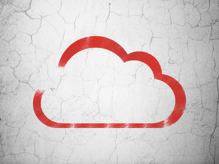 wall cloud: Cloud computing concept: Red Cloud on textured concrete wall background
