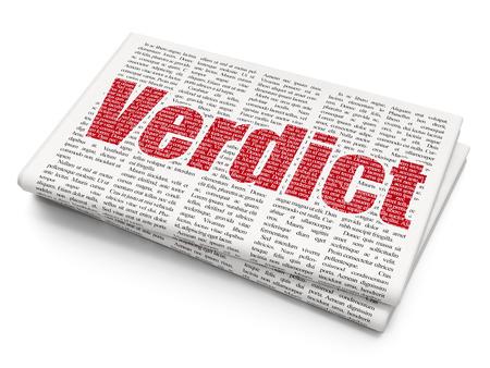 verdict: Law concept: Pixelated red text Verdict on Newspaper background