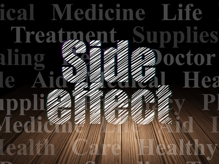 side effect: Healthcare concept: Glowing text Side Effect in grunge dark room with Wooden Floor, black background with  Tag Cloud