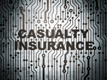 casualty: Insurance concept: circuit board with  word Casualty Insurance, 3d render