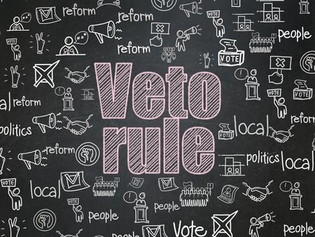 veto: Political concept: Chalk Pink text Veto Rule on School Board background with  Hand Drawn Politics Icons