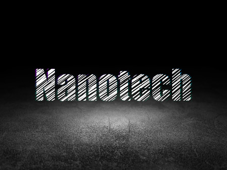 nanotech: Science concept: Glowing text Nanotech in grunge dark room with Dirty Floor, black background