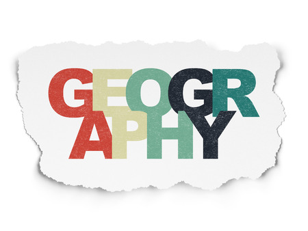 geography: Education concept: Painted multicolor text Geography on Torn Paper background Stock Photo
