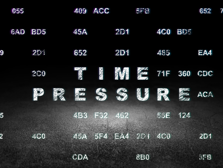 time pressure: Timeline concept: Glowing text Time Pressure in grunge dark room with Dirty Floor, black background with Hexadecimal Code Stock Photo