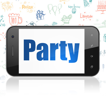 holiday display: Holiday concept: Smartphone with  blue text Party on display,  Hand Drawn Holiday Icons background Stock Photo