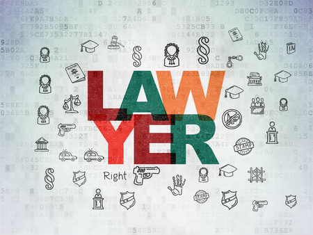 data protection act: Law concept: Painted multicolor text Lawyer on Digital Paper background with  Hand Drawn Law Icons