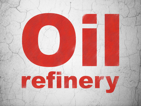 refinery: Manufacuring concept: Red Oil Refinery on textured concrete wall background Stock Photo