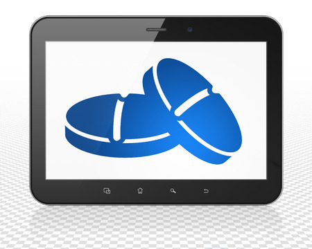 healing touch: Healthcare concept: Tablet Pc Computer with blue Pills icon on display