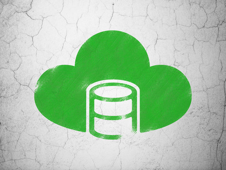 java script: Programming concept: Green Database With Cloud on textured concrete wall background